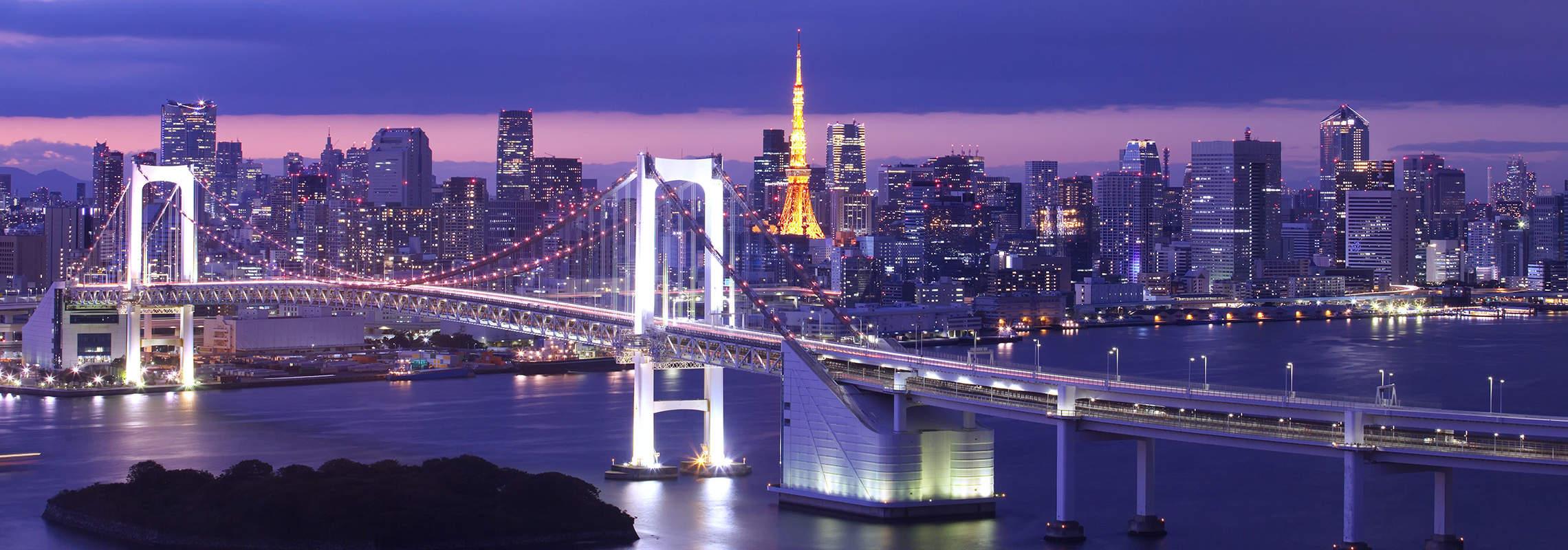 Tokyo Skyline with Rainbow Bridge and Tokyo Tower